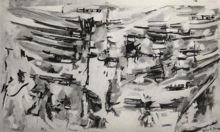 Composition, 1955 by Maria Helena Vieira da Silva. Tachisme. abstract