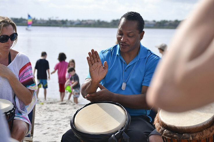 Drum Workshops On The Beach at Club Med Sandpiper Bay.