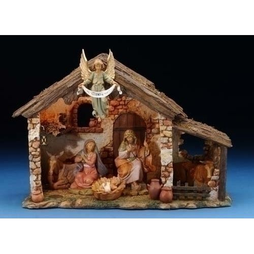 """6-Piece 5"""" Nativity Set with Lighted Stable"""