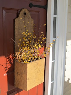 door box  - would use forsythia, pussy willows