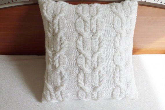 Cable Knit Decorative Pillow Cover White Hand by Adorablewares