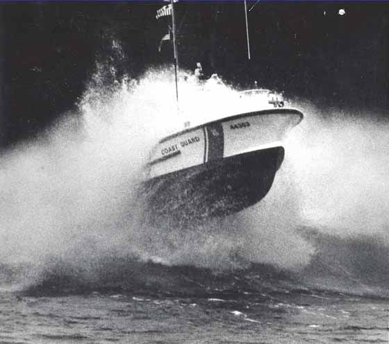 U. S. Coast Guard 44-foot Motor Lifeboat CG-44363, attached to Coast Guard Station Quillayute River, Winter Training Session c.1982.