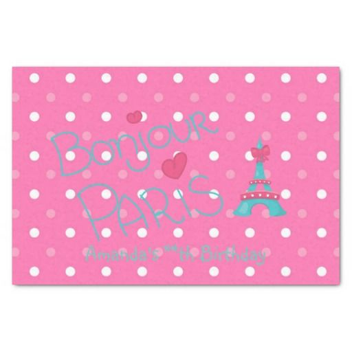 "Pink Paris Theme Personalized 10"" X 15"" Tissue Paper"