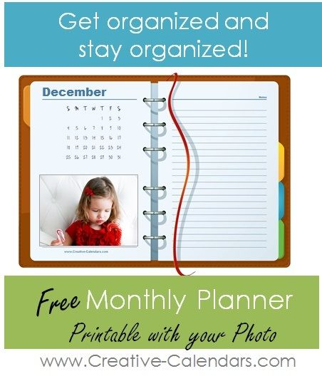 Monthly planner with photo. Add your own photo with the online calendar maker.