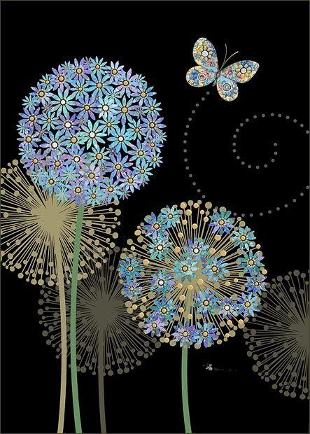 Blue Alliums - Bug Art greeting card