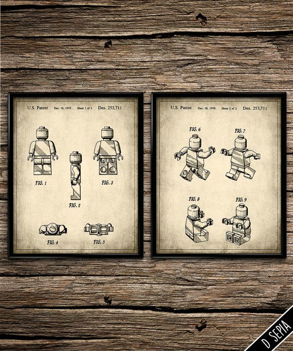 Superbe Vintage Patent Lego Characters | Patent Prints | Office Decor | Home Decor  | Printable Wall