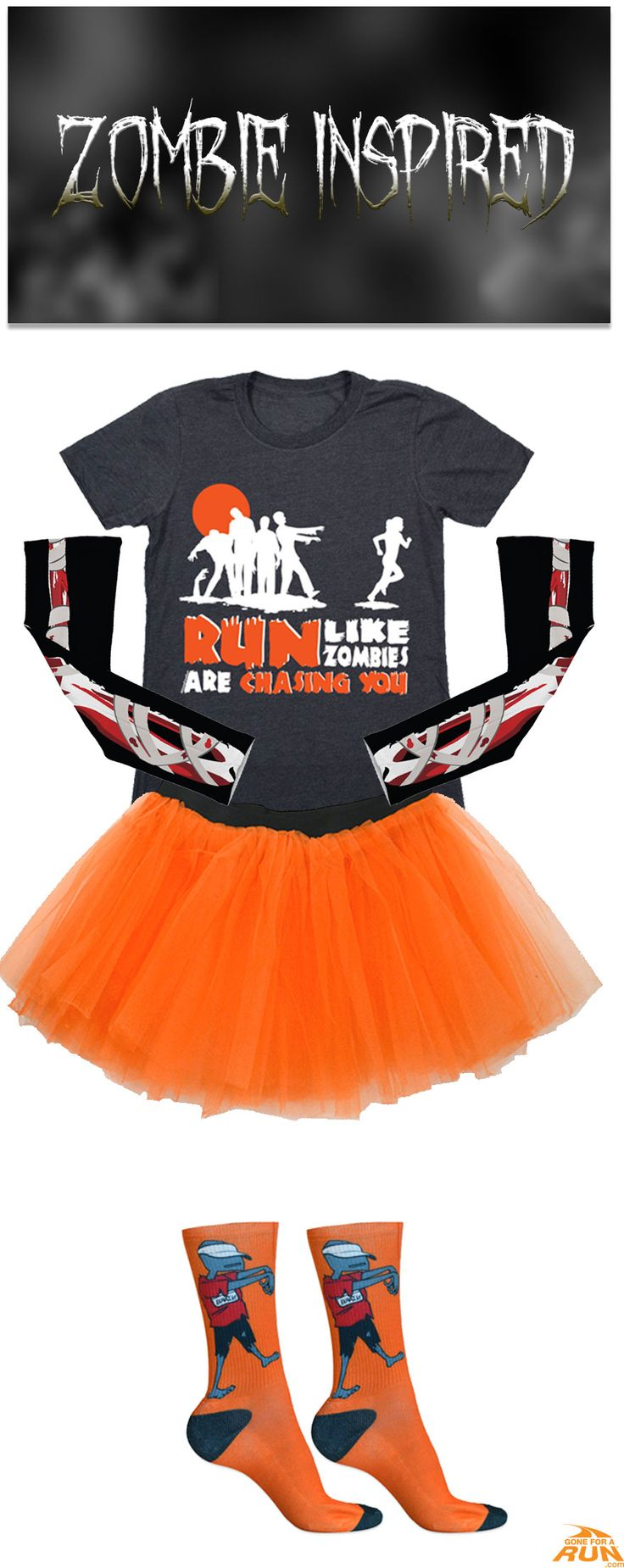Make up your own #costume, or check out one of our original ideas! Runners can outrun zombies, but what if zombies could run?! The world would be doomed, but it would make one awesome costume! Leave your competition confused and terrified this Halloween with our Women's #zombie inspired Halloween runner's costume! Get in a #spooky fun mood with our #Halloween inspired running apparel! From shirts to socks and more, you'll find something to suit you and your running friends haunted moods!