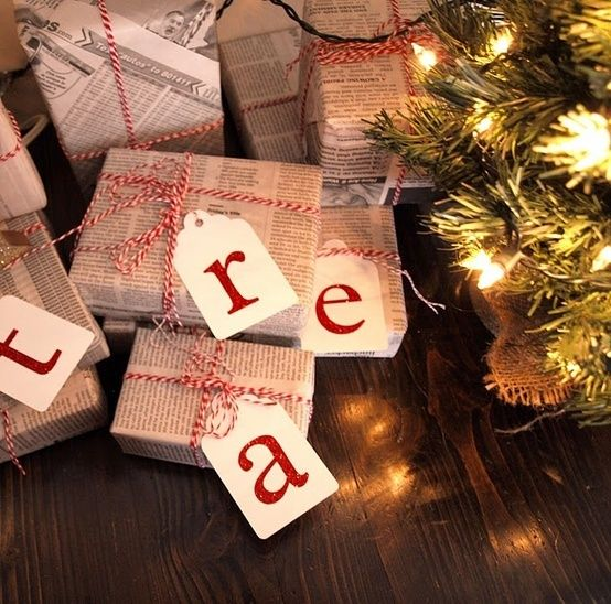 Christmas   Winter   Cozy   Christmas Decor   Love the idea of wrapping with newsprint and red string. Love the tags too