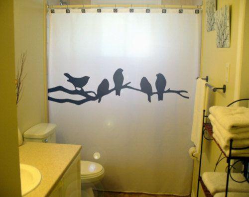 Bathroom Shower Curtain Black Birds bird tree branch lovebirds raven crows, unique shower curtains
