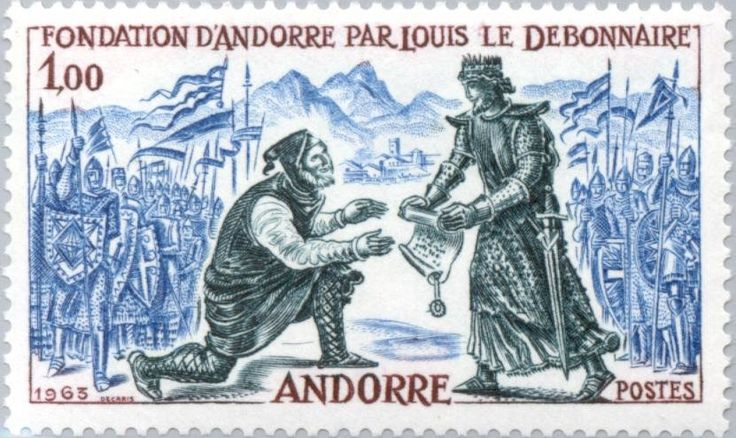 Stamp: Transfer of the founding-parchment by Louis the Pious (Andorra, French Administration) (Pictures from history) Yt:AD-FR 169,Mi:AD-FR 181,Sn:AD-FR 157,Sg:AD-FR F188,Edi:AD-FR 189
