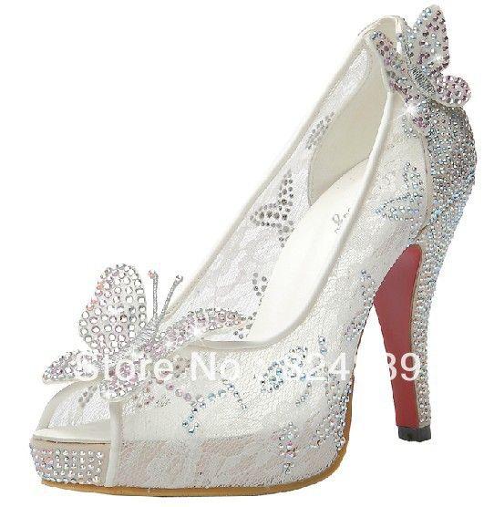 Limited Cinderella Gl Slipper Sandals Crystal Wedding Shoes High Heels P Pumps Bowknot Red Bottom