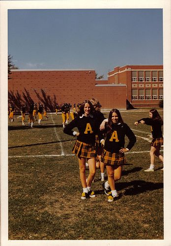 Amherst Football Cheerleaders, Mid-1970s | Flickr - Photo Sharing! Plaid skirts and saddle shoes, awesome.