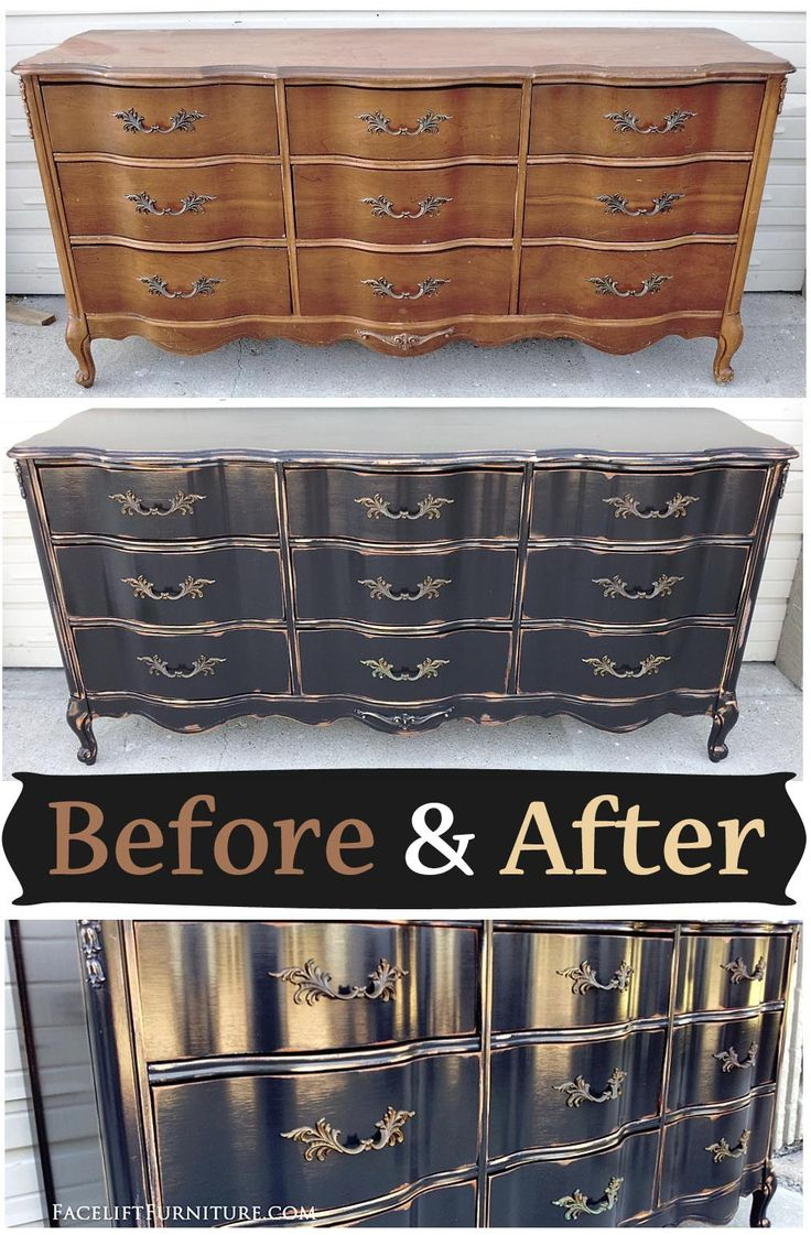 Painting furniture black before and after - Black French Provincial Dresser Before After