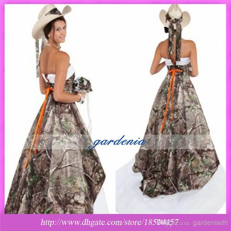 Stunning  New Arrival Camo Wedding Dress Strapless Off the Shoulder Sweep Train Backless Camouflage Forest Pattern Bridal Dresses