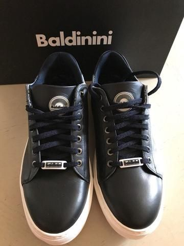 48b590c0c73e New  450 Baldinini Men s Leather Sneakers Shoes Dark Blue 9 US ( 42 Eu )  Italy