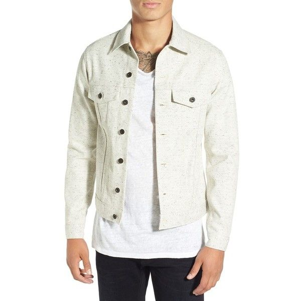 Men's Naked & Famous Denim Flecked White Denim Jacket ($155) ❤ liked on Polyvore featuring men's fashion, men's clothing, men's outerwear, men's jackets, mens jean jackets, mens white denim jacket, mens jackets and mens white jacket