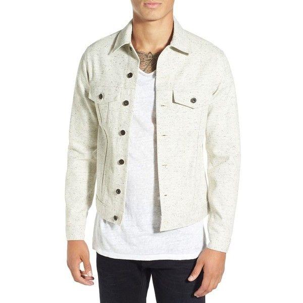 Men's Naked & Famous Denim Flecked White Denim Jacket ($155) ❤ liked on Polyvore featuring men's fashion, men's clothing, men's outerwear, men's jackets, mens jean jackets, mens white denim jacket, mens jackets and mens white jacket