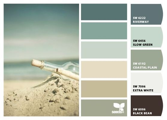 Paint Colors By Sherwin Williams Sw Riverway Slow Green Coastal Plain Extra White Black Bean Coastalbedroomscolors