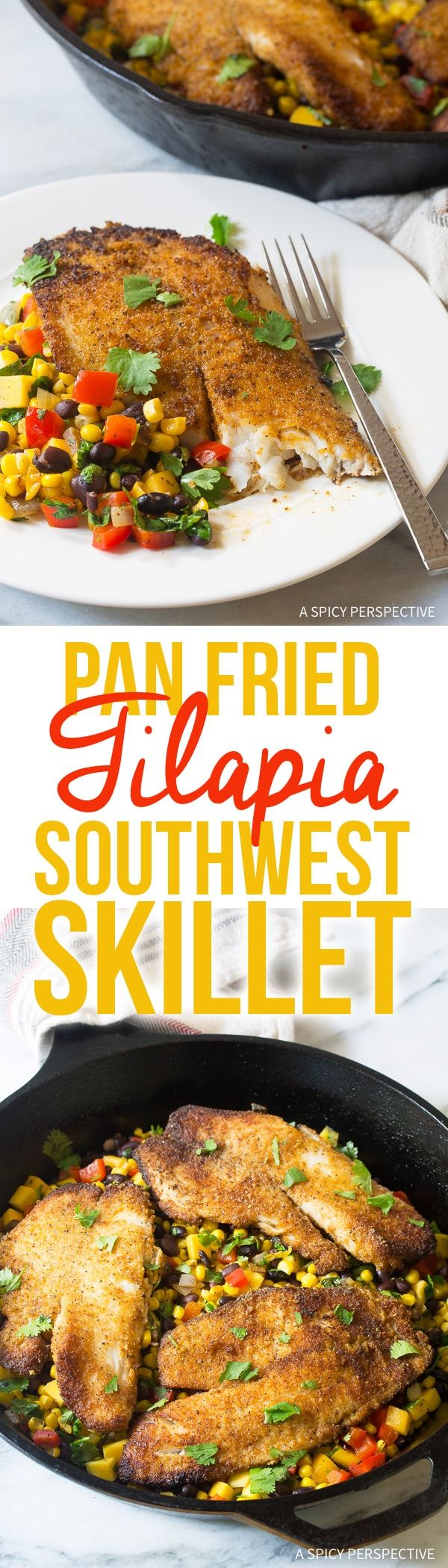 Pan Fried Tilapia Southwest Skillet Recipe - An easy and healthy one-pan dinner you can make any night of the week! Bold and zesty with a built-in side dish. via @spicyperspectiv