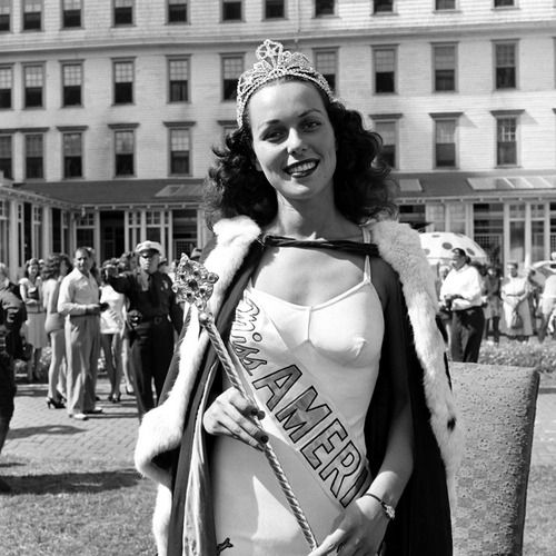 The winner of the 1945 Miss America pageant, 21-year-old Bess Myerson of New York — the first Jewish woman to win the crown. She went on to a career in public service.