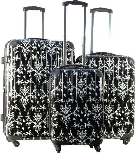 Damask Hard Case Luggage Set 3pcs 360° Rotation Wheels Very Light