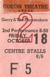 Concerts & Package Tours : 1963 (September to October)--Leeds Ticket 10/18/63