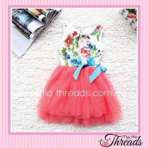 Coral Floral Tutu Dress Floral bodice with a blue bow detail and tulle skirt. Perfect for a day out at the park or running around the house causing mischief