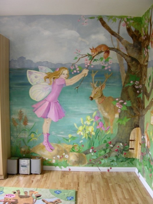 Pin by sharon binnion on things i want to paint or draw for Fairy forest mural