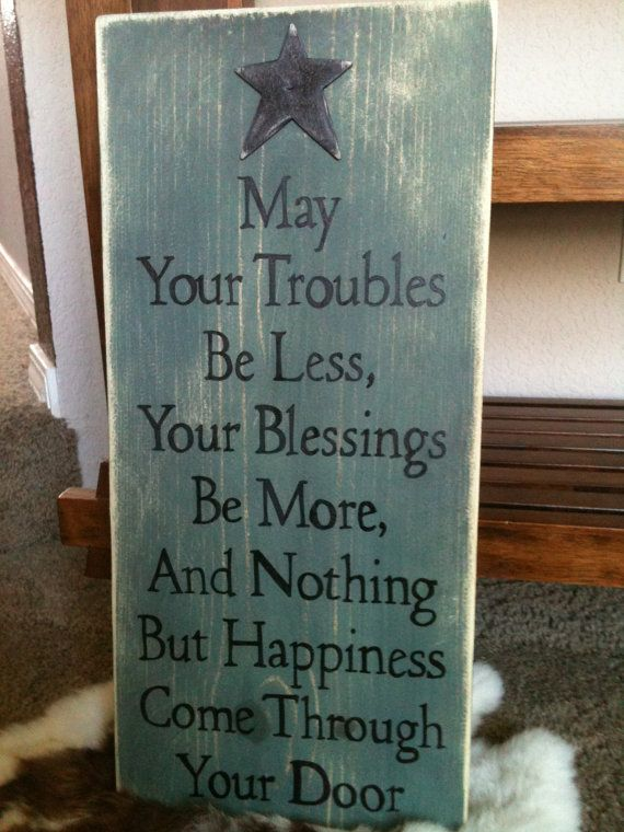 Etsy. Primitive Rustic wood sign, Nothing But Happiness. LOVE the quote, color, everything
