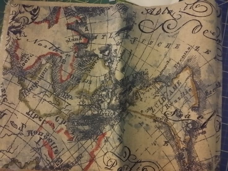 Old World Map Upholstery Material