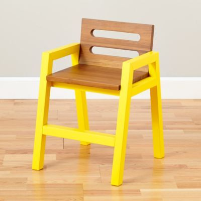 Two-Tone Teak Play Chair (Yellow)  | The Land of Nod