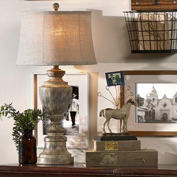 Napa Home Lamp With Burlap Shade