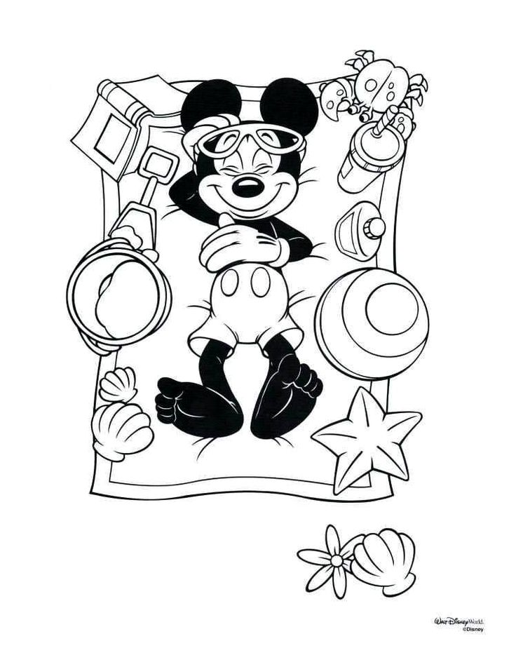 Mickey at the beach Ezra Disney coloring pages