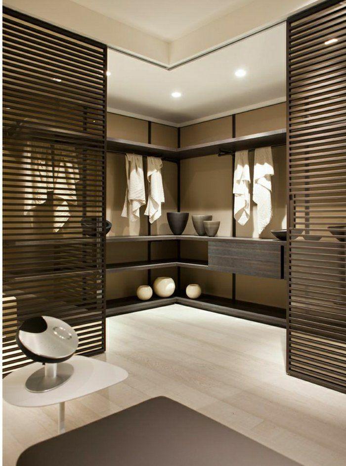 porte coulissante en bois, salle de bain moderne, idée créative, déco