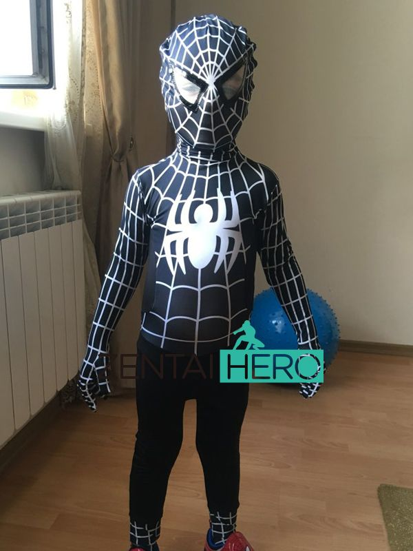 Free Shipping DHL 2017 NEW Black Movie Halloween Kids Spiderman Costume Spider-Man Suit  fullbody zentai suit Cosplay Clothing