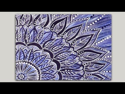 Quick & Easy Painted Mandala Doodle - Part 2 of 2 - Acrylic Painting on Canvas - YouTube