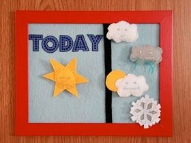 Oh, I am making this today for my little science guy :) He loves weather. Felt weather board