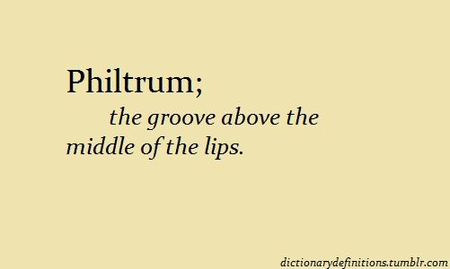 philtrum: (n) the groove above the middle of the lips | In a sentence: My friend sure is lucky she has not a hairy philtrum.