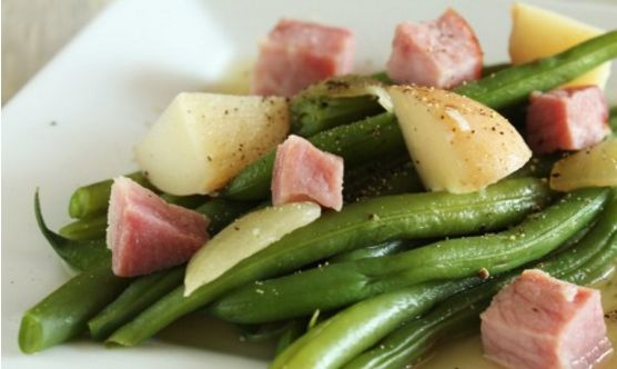 Ham Potatoes And Green Beans On The Stove