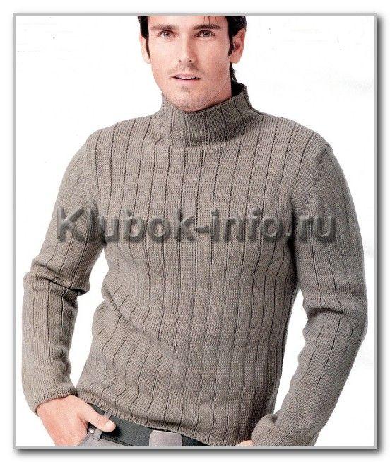 вязание спицами однотонный свитер водолазка размер 44 46 48 50