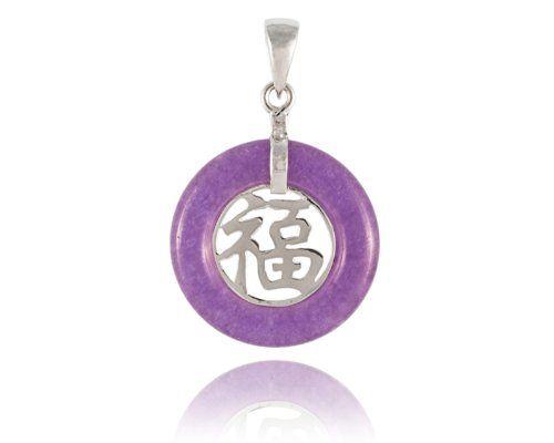 "Lavender Jade ""Fortune"" Round Pendant, 925 Sterling Silver Golden Dragon:"