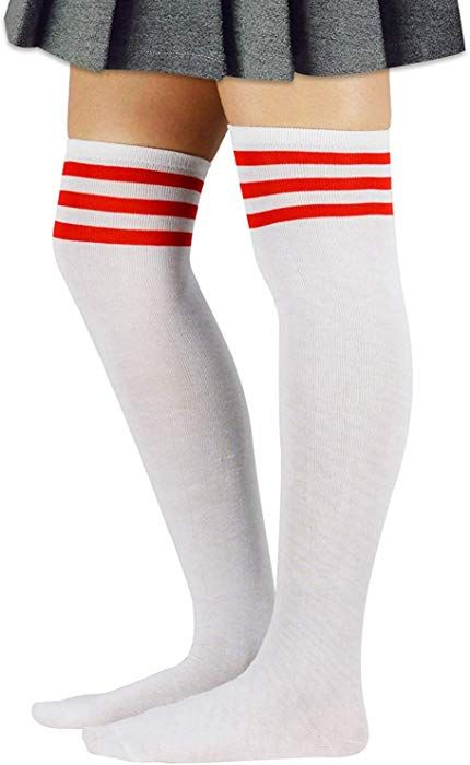 2fff20a1b46 Zando Women Long Stripe Thigh High Socks Sporty Over the Knee Tube Stocking  Socks Teen Thin Plus Size Tights Socks 1 Pack White w Red One Size