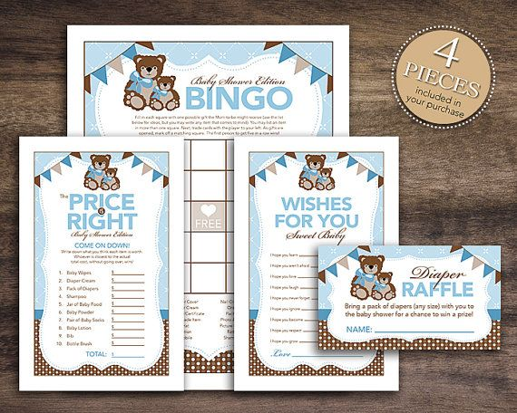 Instant Download Teddy Bear Theme Baby Shower Game Package for Boy, Bingo Cards, Price Is Right, Wish for Baby Diaper Raffle, Brown Blue 42A