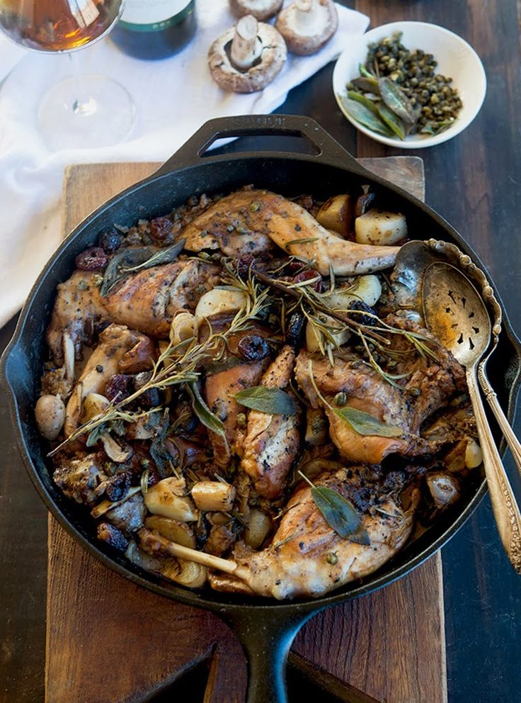 Wild Greens and Sardines : Marsala Braised Rabbit with Sage, Rosemary, and Tart Cherries