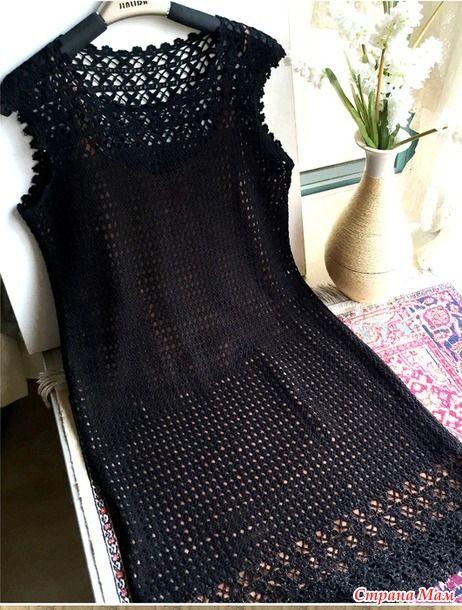 Очень красивое элегантное и нарядное платье связанно из черной шелковой пряжи несколькими узорами Пряжа шелк 300 гр. Крючок 2. http://bbs.bianzhirensheng.com/