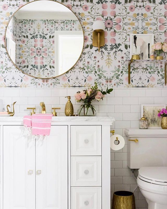 How Much Would You Actually Look Forward To Cleaning This Gorg Bath From Athomewithashley Bathroom Mo Pink Floral Wallpaper Pretty Bathrooms Girly Decor
