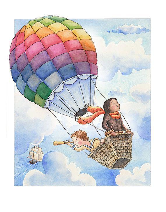 Месяца, открытка ребенок на шарике