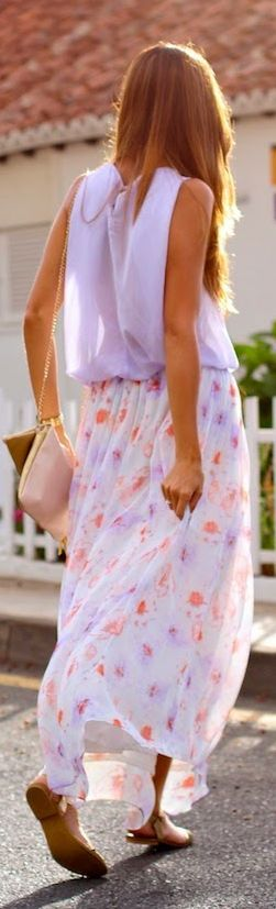Zara White Multi Floral Chiffon Maxi Skirt by Marilyn's Closet