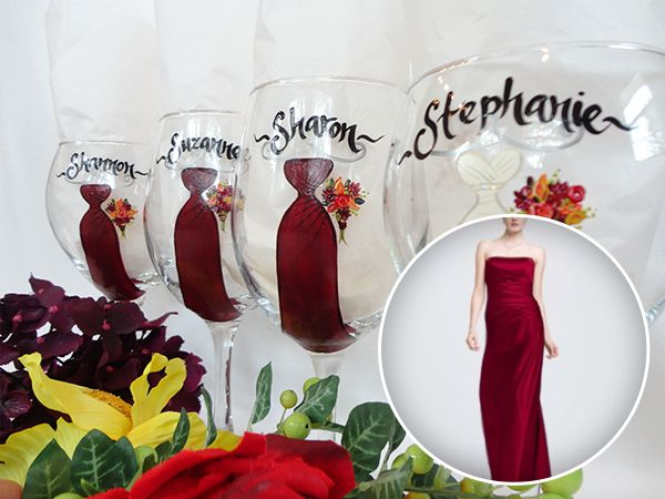 EXACT DRESS REPLICAS, Bridesmaid Gift Ideas, Personalized Bridesmaid Wine Glasses, Hand Painted Dresses, Gifts for Bridesmaids, Bridal Glassware, by SAM Designs @ www.samdesigns.net