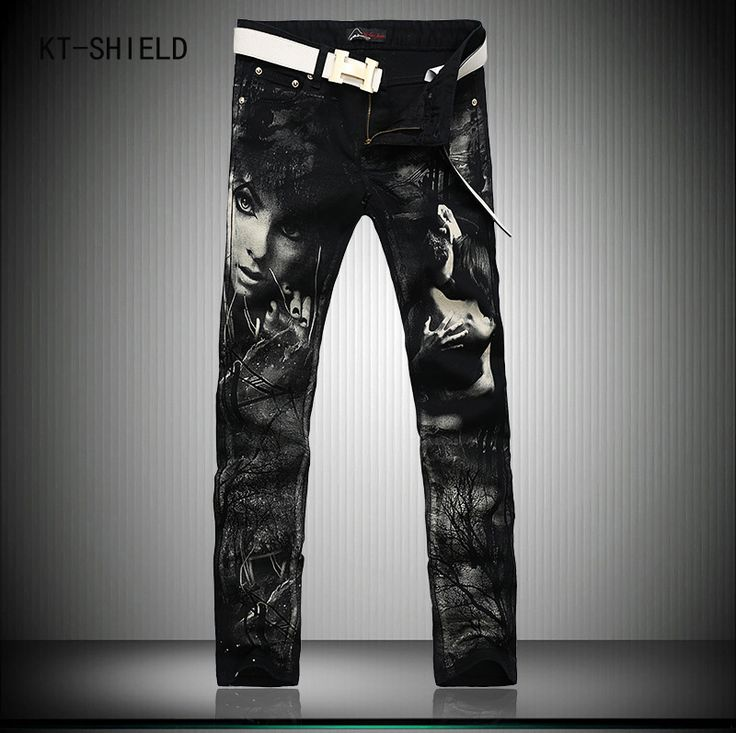 ==> [Free Shipping] Buy Best Individual Design Fashion Male Colored Drawing Straight Jeans Mens Denim Movie Characters Pattern Printed Jeans Black trousers Online with LOWEST Price   32727510994